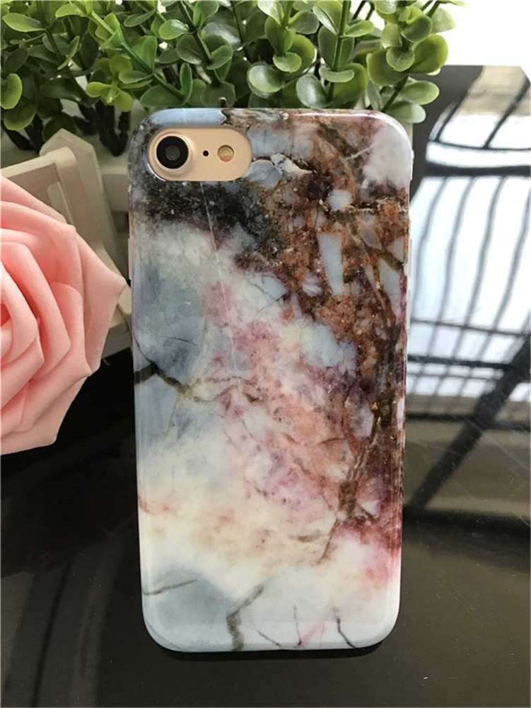 Marble Stone Pattern Soft Silicone Case Rubber Printed Phone Cover for iphone 7 plus