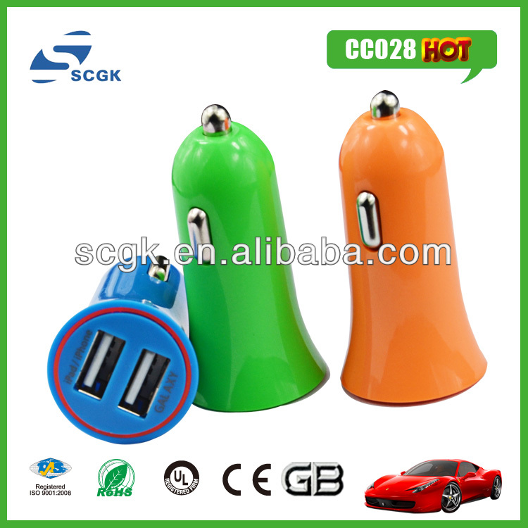 trumpet horn-shaped dual usb car charger 6v 1a