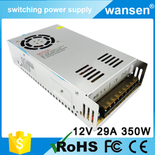 Wansen CE approved small volume S-350-12 250v 110v to 12 volt 29a dc led switching power supply / slim led power supply 12v