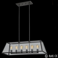 Edison Type Pendant Light/ Glass Chimney Classical Pendant Lamp in Six Lights