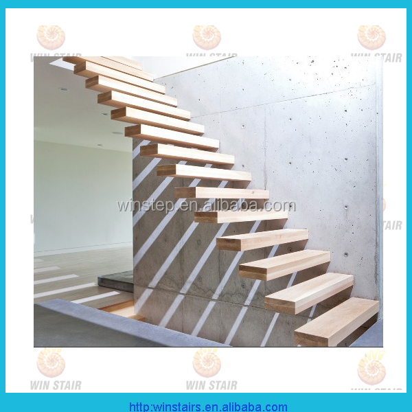 invisible stringer floating oak wood tread stair price