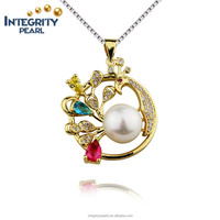 New Arrival gold plated 925 Silver Natural Pearl Pendant Necklaces For Women's Jewelry