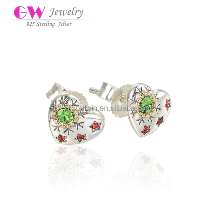 Fashion Heart Model For Christmas 925 Sterling Silver Diamond Earring