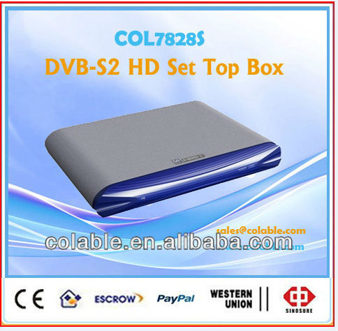 2013 best hd satellite receiver dvb-s2 mpeg4 hd receiver. decoder box cable tv. HDTV SDTV MPEG2 H.264 decoding COL7828S