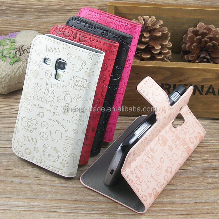 Wholesale hello cat leather case for Sumsang Galaxy S4 S5 cell phone cases covers