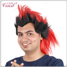 fashion red and black fake spike mohawk wigs