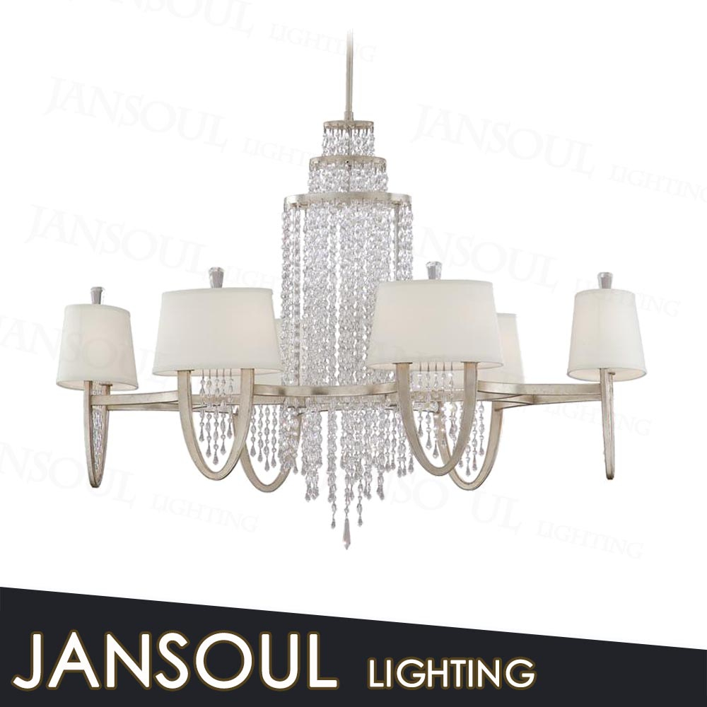 new arriving zhongshan french iron plastic bulk crystal chain raindrop chandelier prisms with fabric lampshade