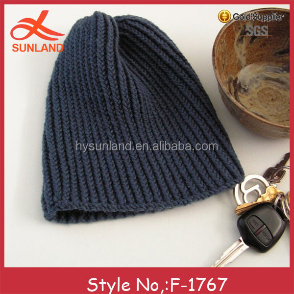 F-1767 new dark blue simple design knitted beanie hats for winter for men