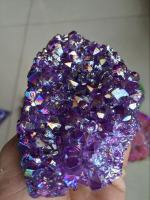 Beautiful mix colour Aura Quartz Crystal Titanium AMETHYST CLUSTERS