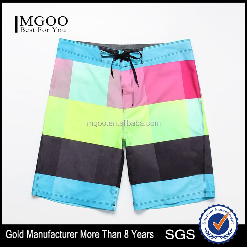 Customizable Polyester Spandex Swim Shorts with EZ Fly Closure Water Repellency Recycled Fabric Stretchy Multicolor Trunks