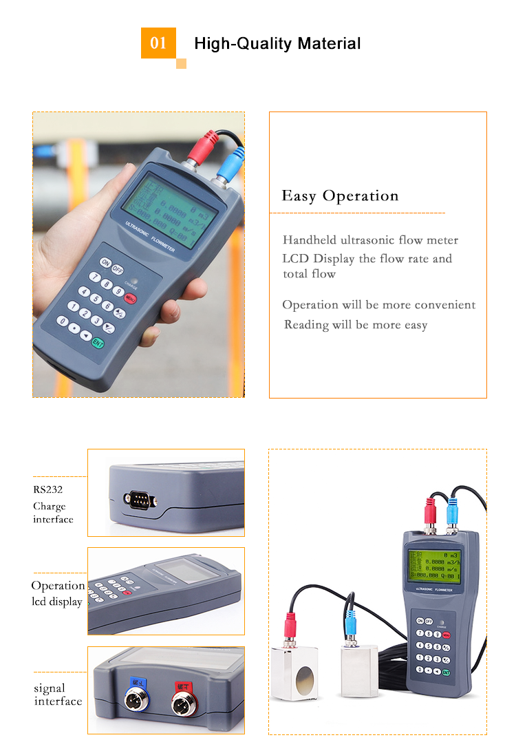 Handheld ultrasonic flowmeter water flow sensor price