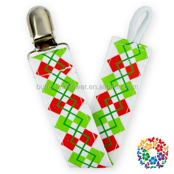 Chic Posh Petti Loverly Red Green White Christmas Printed manufacturing pacifier clip baby Double soother clip pacifier clip