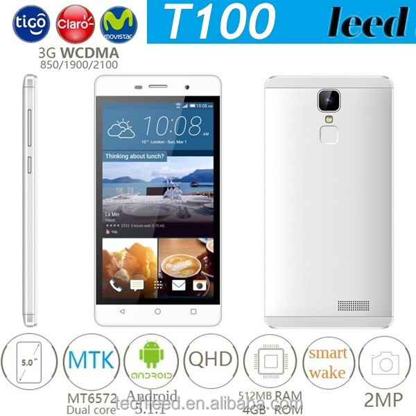 Low price very slim Android5.1.1 3GWCDMA memory smart cell phone T100