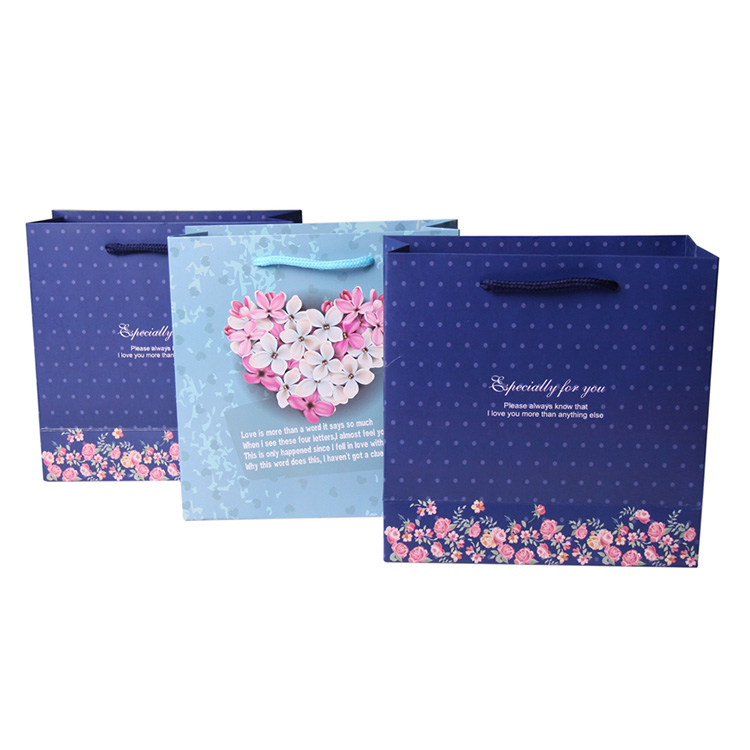 Personalized decorative blue mini grocery paper bag with ribbon
