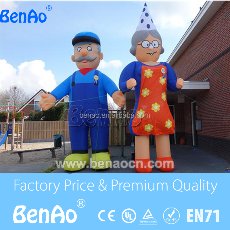 AC097 inflatable old man and woman model/Inflatable moving cartoon for promotion/