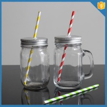 12 Oz Custom Color Glass Wholesale Mason Jars with Handles