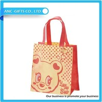 logo print wholesale pink non woven shopping bags
