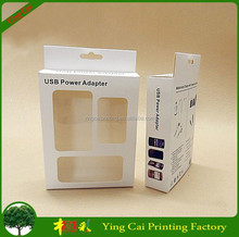 white paper packaging box for mobile accessories / usb power adapter with clear window XF-152