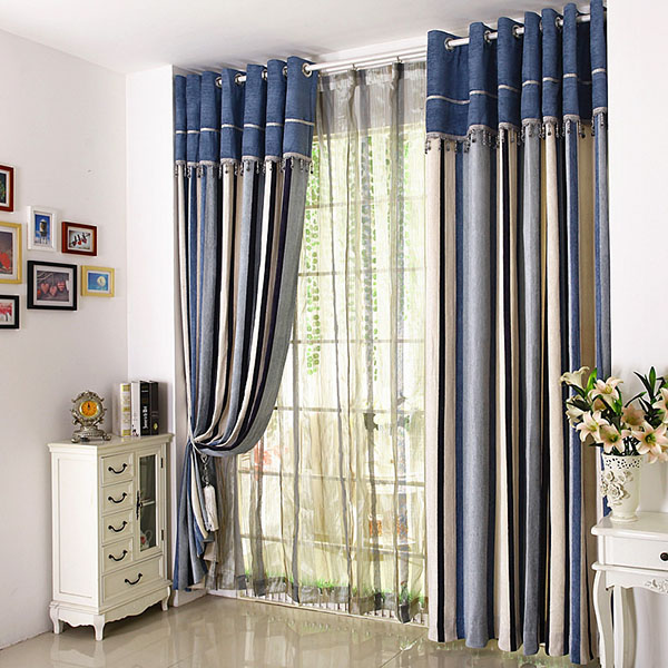 Ready made stripe curtains semi-blackout modern volie curtains for bedroom kitchen