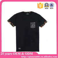China Manufacturer Wholesale Custom Men Create Your Own Leather Pocket Floral Sleeve Men Fashion T Shirt