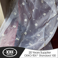 popular cheap flower embroidered organza curtain