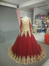 Real sample long sleeve ball gown red color muslim/islamic lace wedding dress #OW8002