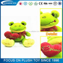 2017 custom stuffed red heart green frog plush toy