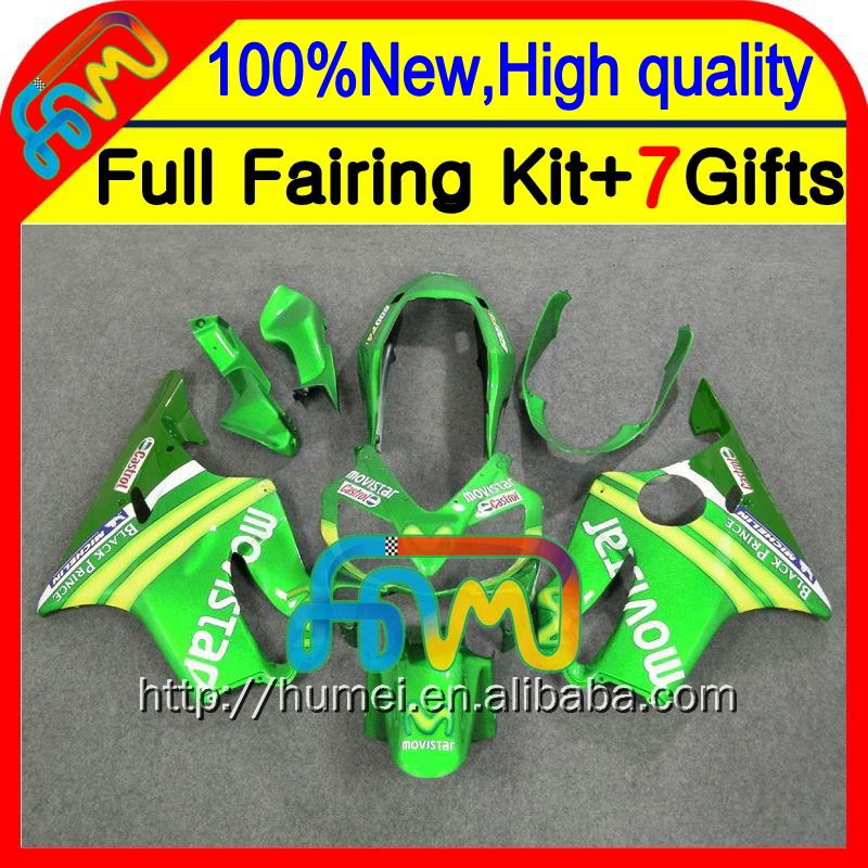 7gifts For HONDA CBR600F4i 04 05 Movistar 06 07 CBR 600F4i 23CL7 CBR600 F4i 2004 2005 2006 2007 Fairings Green yellow Fairing
