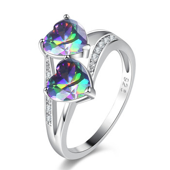 RI00197 Yiwu WT electrolysis 30% 925 silver zircon colorful heart copper ring for charm women
