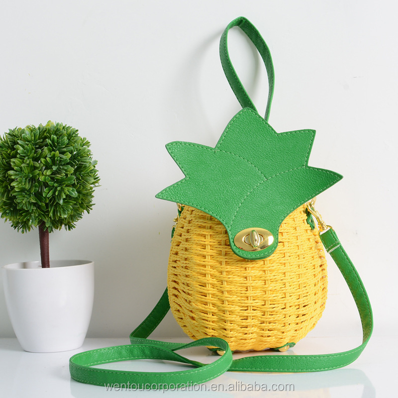 2017 New Arrival Pineapple Shaped Crossbody Straw Bag