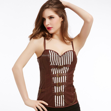 Wholesale full body leather corset brown sex women corset