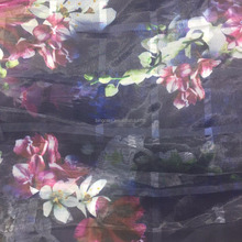 2017 wholesale polyester printed Organza fabric