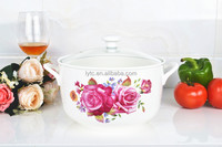 "8""Porcelain round pot microwave oven with glass lid"