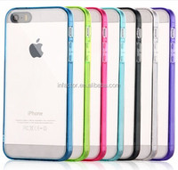 Hot-sale CLEAR Back Silicone TPU Bumper Case For iPhone 5 5S