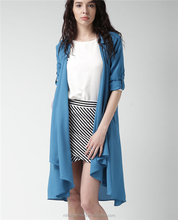 MIKA3062 Women Blue Spread Collar Front Open Woven Coat