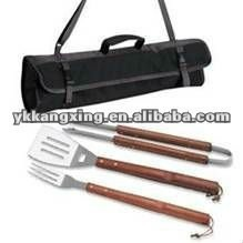 Wooden handle bbq tool sets