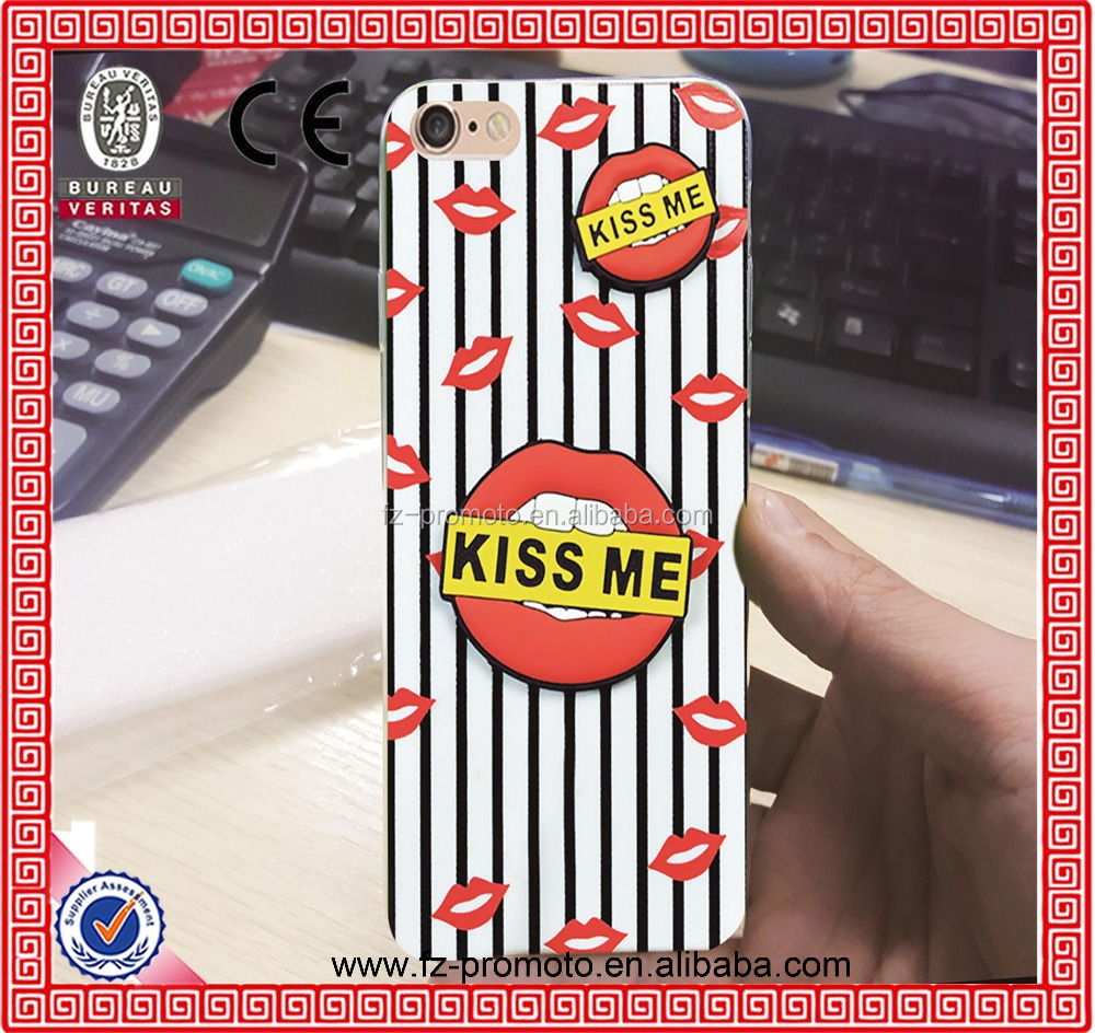 "Hot Fashion phone Cases For iPhone 5 5S 6 4.7"" Plus 3D Sexy Red Lip phone cases Seductive mouth Cover case shell for iphone5"