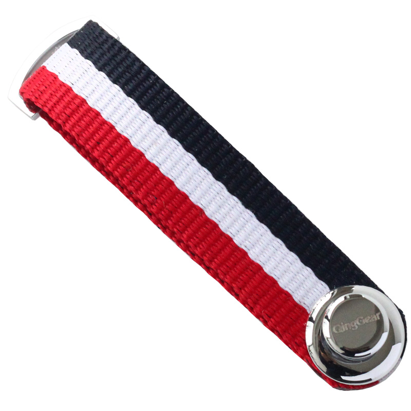QingGear Smart Key Organizer, Compact Key Holder Stripe Fabric Canvas Keychain, Folding Pocket Key Holder Chain