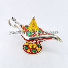 China supplier Aladdin Lamp metal hand painted home decor crystal trinket jewelry box(QF3660)
