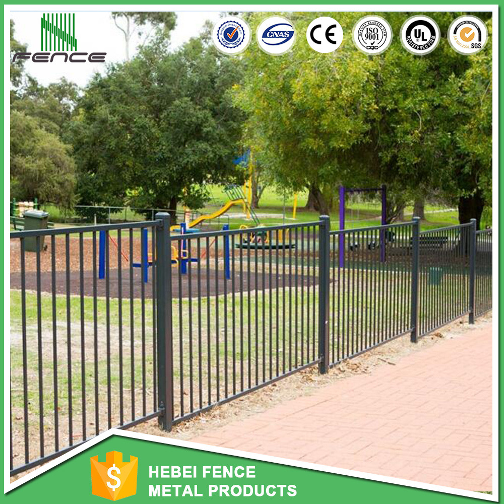 Cheap Black powder coated spear top galvanised tubular metal fence