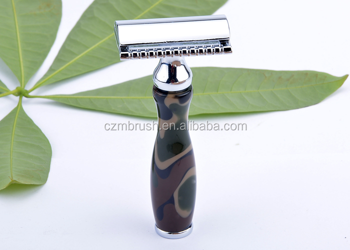 popular camouflage DE safety razor military double edge shaving razor damascus shaving razor