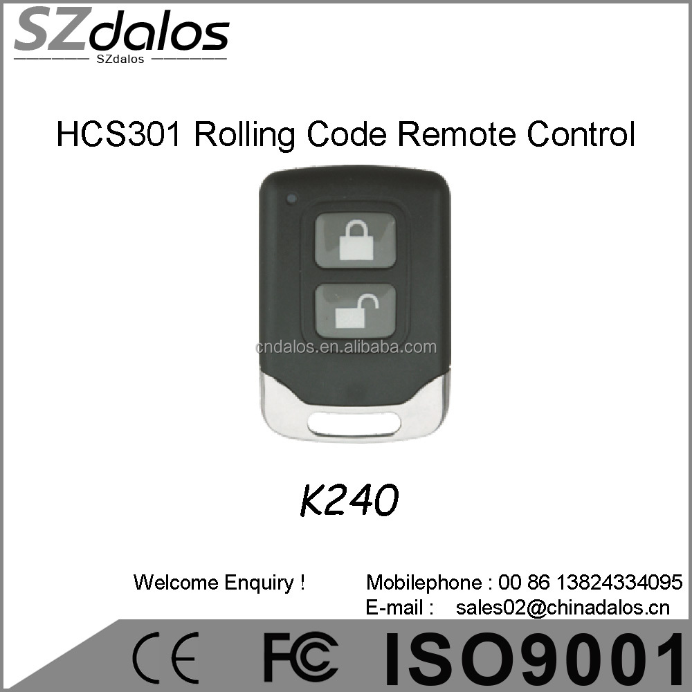 remote control transmitter 2-channel(buttons) rolling code(HCS301) 433,92Mhz for European market