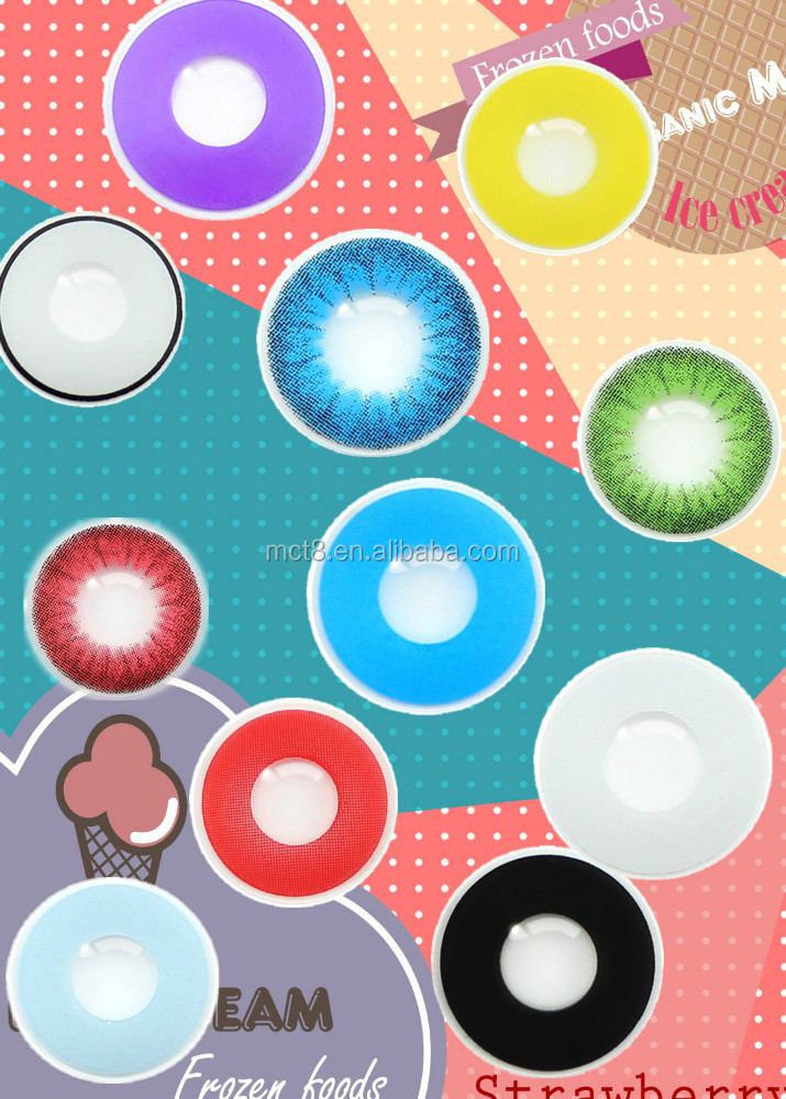 Rainbow crazy eye contact lens very cheap and watery fresh colored contacts