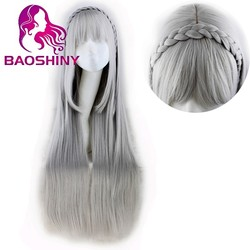 Synthetic Grey Hair Wigs Natural Cheap Long Straight Silver Wigs With Braids Gray Womens Wigs