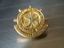 Best selling gold color and rhinestone badge