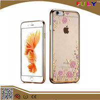 2016 New Transparent Cover Soft TPU Electroplating Case with Diamond Flower For iphone 6 6s plus