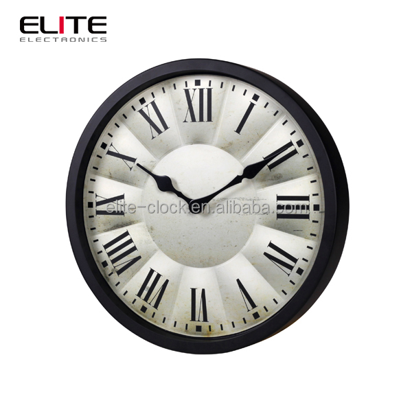 high quality home goods 12 inch 3D shape metal decorative wall clocks with Roman numerals