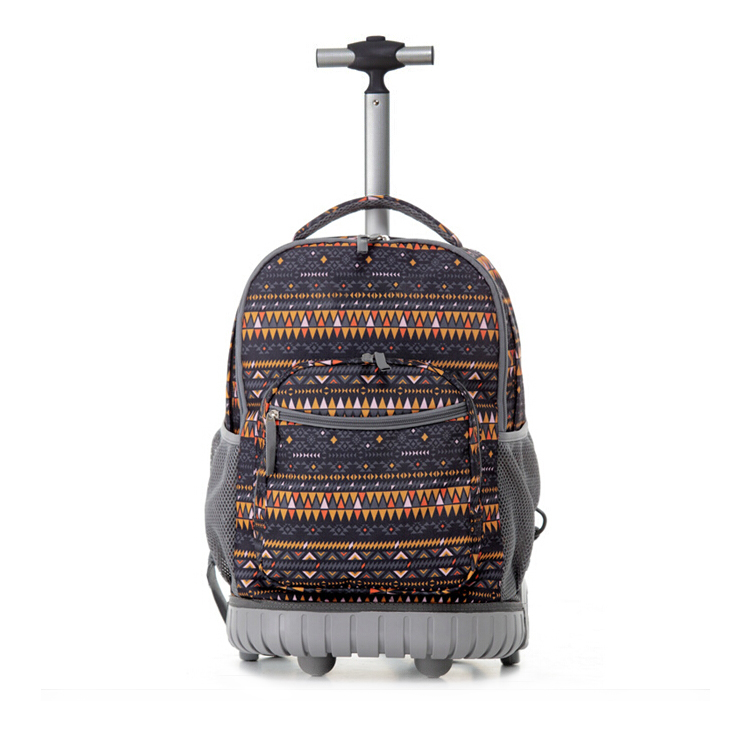 Offset printed trolley rolling backpack bag, sublimation damask chevron wheeled luggage roller laptop school back pack rucksack