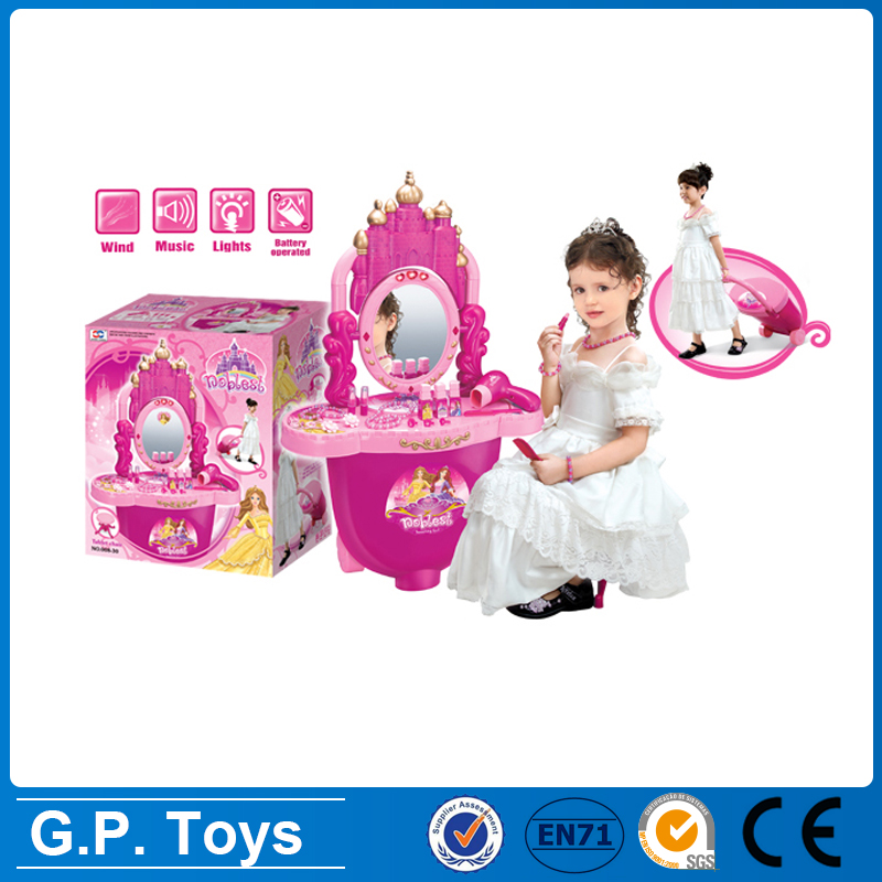 Plastic baby learning toy kids girl make up toys dressing table