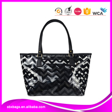 2 in 1 chevron stripes clear beach tote bag with large capacity purse